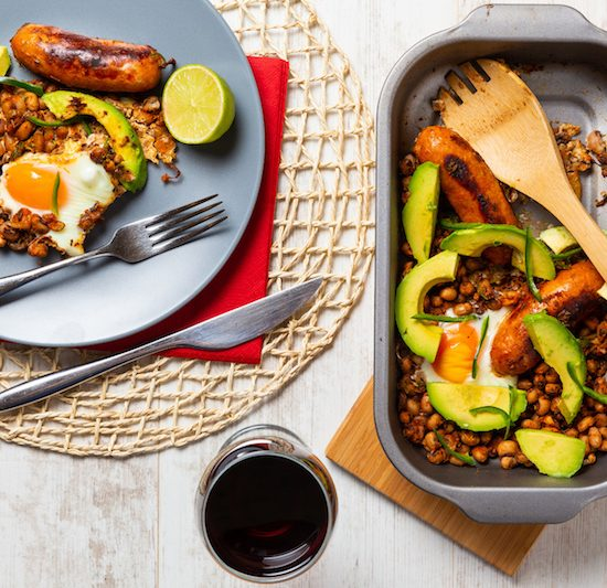 Spicy Sausage, Mexican Beans with Avocado & Eggs