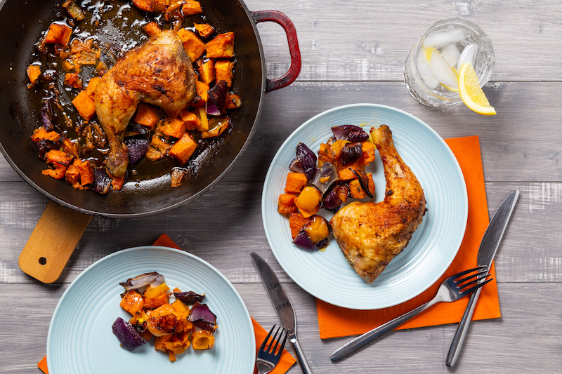Roast Harissa Chicken with Sweet Potato & Peppers