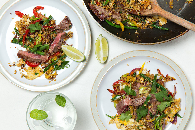 Steak and Fried Quinoa with Peppers and Green Beans