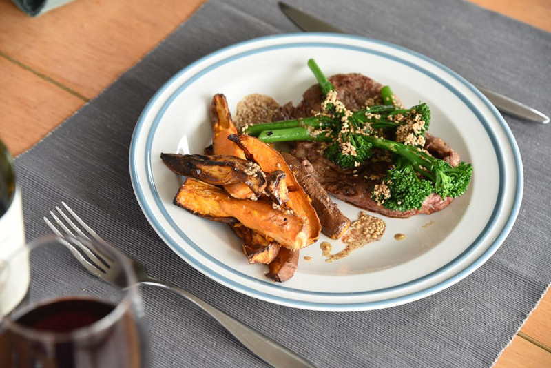 Irish Ribeye with Sweet Potato Wedges, Tenderstem Broccoli & Cumin Butter