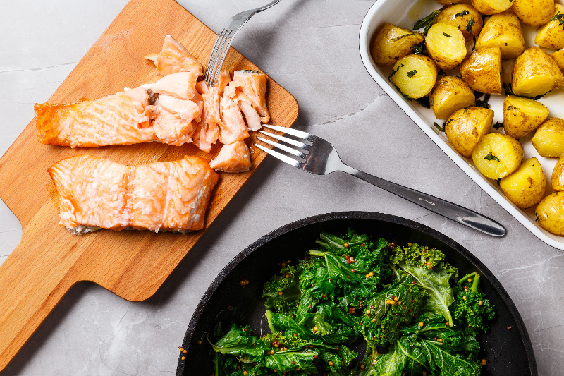Baked Salmon with Kale & Mint Roast Potatoes