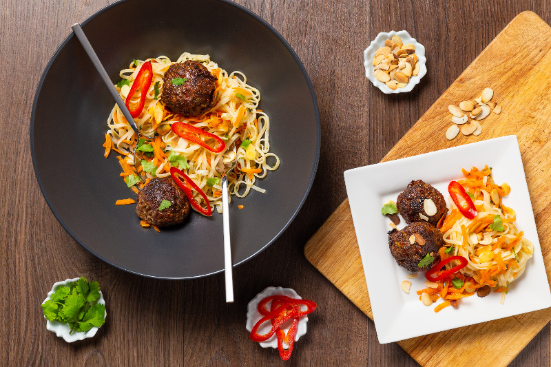 Vietnamese Meatballs with Shredded Carrot _ Sesame Rice Noodles