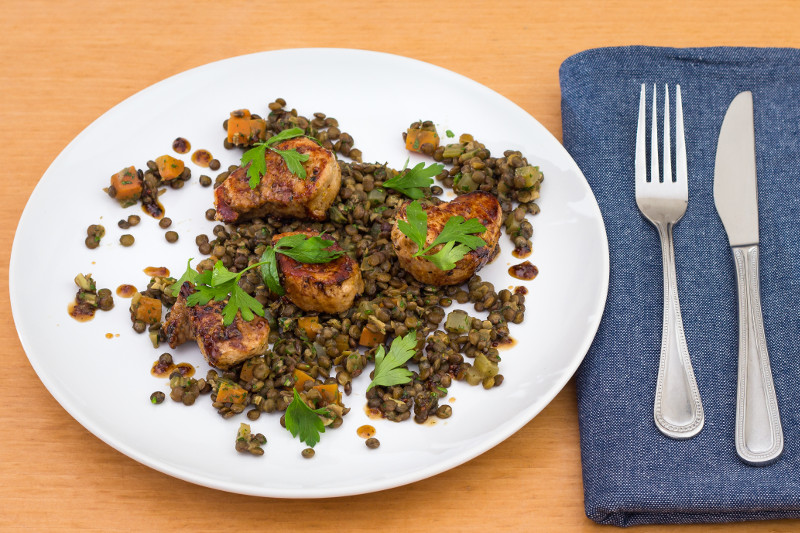 Honey Mustard Pork with Lentils