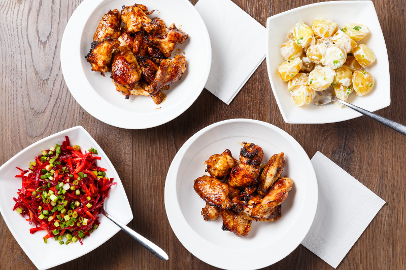 Honey Chilli Chicken Wings with Beetroot Slaw Potato Salad