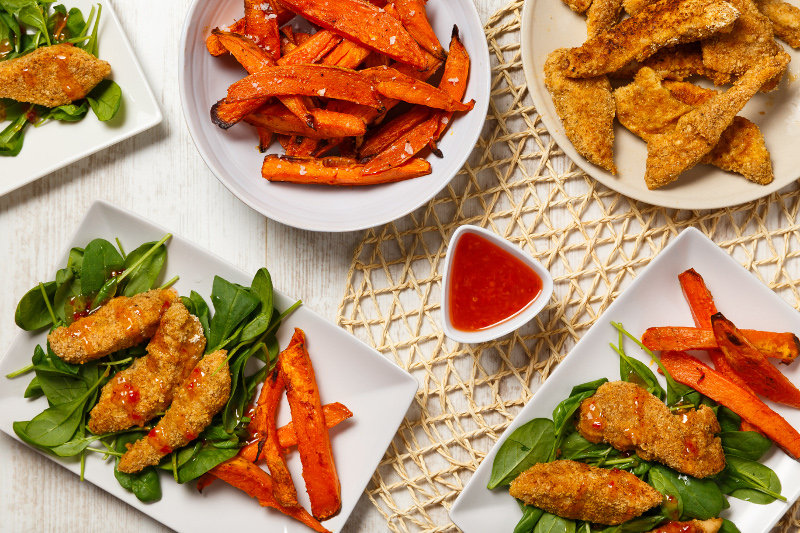 Chicken Dippers with Sweet Potato Fries