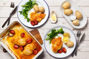 Apricot & Plum Chicken with Broccoli & Baby Potatoes