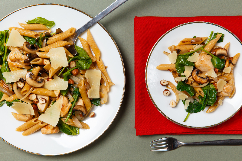 Chicken, Mushroom and Hazelnut Pasta